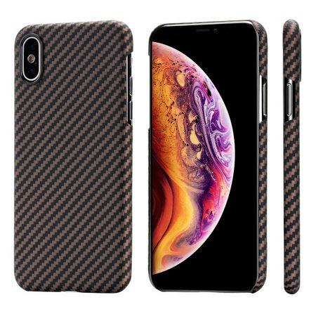 Чехол PITAKA MagCase для iPhone XS/X черно-коричневый в полоску