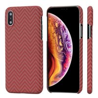 Чехол PITAKA MagCase для iPhone XS/X  красно-оранжевый в полоску
