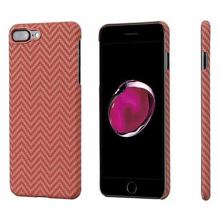 Чехол Pitaka MagCase (Кевлар) для iPhone 8/7 Plus красно-оранжевый в ромбик