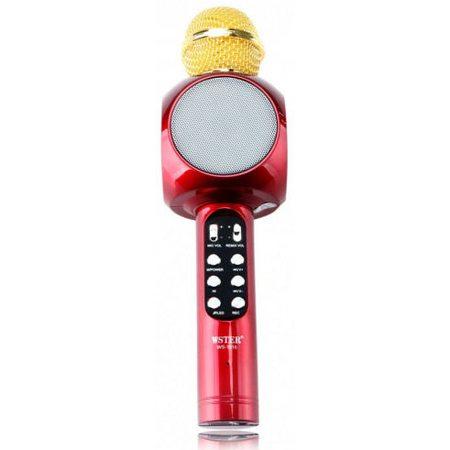 Беспроводной караоке микрофон со встроенной колонкой Wster WS-1816 (красный)